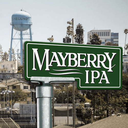 Mayberry sign in front of El Segundo Watertower